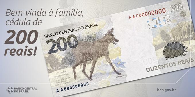 Afiche compartido en las redes sociales del Banco Central de Brasil presentando el formato del nuevo billete de 200 reales. | Fuente externa.