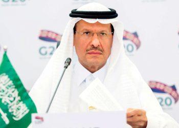 Saudi Arabia's Minister of Energy Prince Abdulaziz bin Salman Al-Saud speaks during a virtual emergency meeting in Riyadh