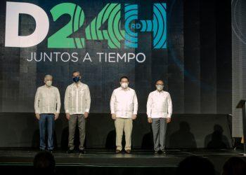 Eduardo Estrella, Luis Abinader, Eduardo Sanz Lovatón y Alfredo Pacheco.
