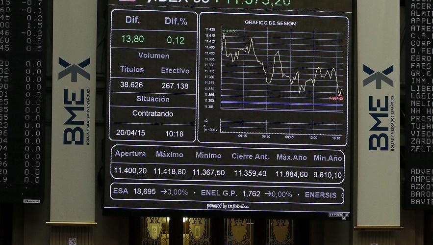 Vista general del panel de la bolsa de Madrid. | Fernando Alvarado, EFE.