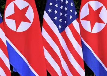 Corea del norte y EEUU banderas