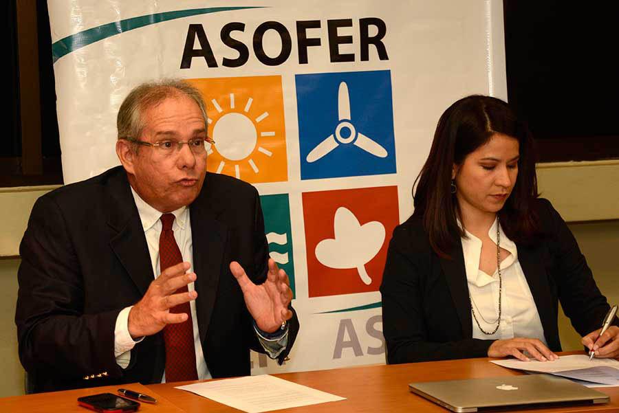 Karina Chez, presidenta de la Asociación para el Fomento de las Energías Renovables (Asofer), y David Paiewonsky, representante del sector de energías renovables, en rueda de prensa  en al sede de la AEIH.