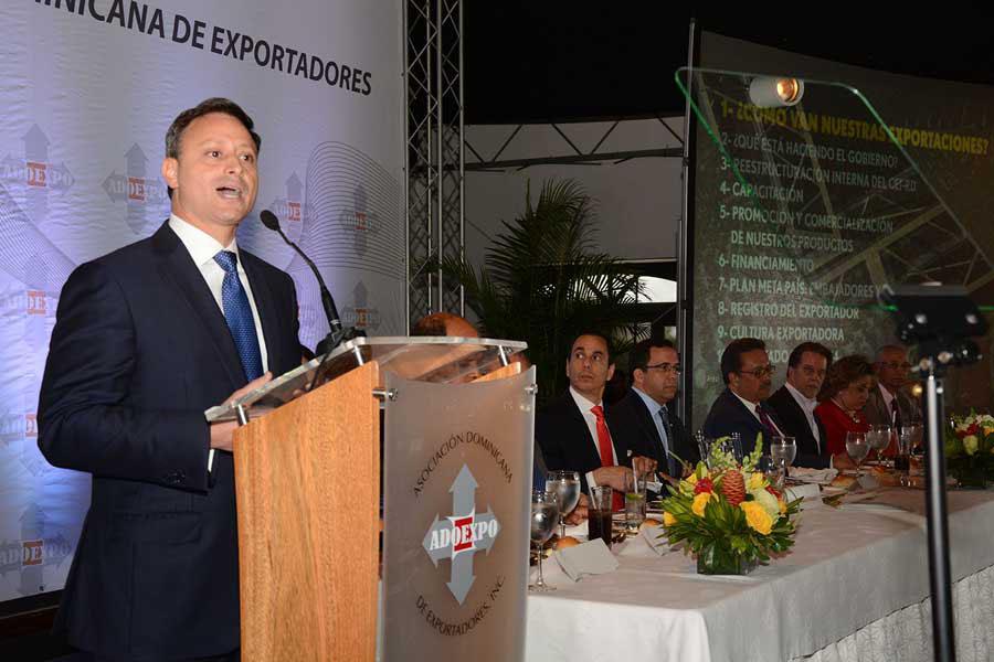 Jean Alain Rodríguez, director del Centro de Exportación e Inversión de República Dominicana (CEI-RD), durante el almuerzo de Adoexpo. /Lésther Alvarez