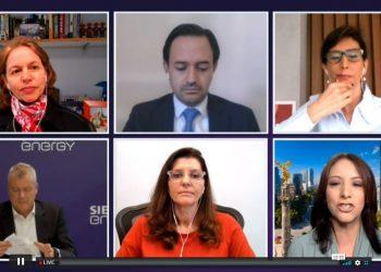 """Panelistas participando de la conferencia virtual """"Semana de la energía en América Latina""""."""