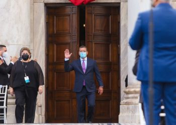 El gobernador de Puerto Rico, Pedro Pierluisi, durante su toma de posesión este sábado.   Fuente externa.