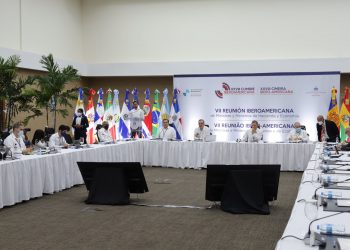 El presidente Luis Abinader y los ministros de Hacienda, Economía y Relaciones Exteriores presidieron la mesa durante VII Reunión Iberoamericana de Ministros de Hacienda y Economía de la región.   Fuente externa.