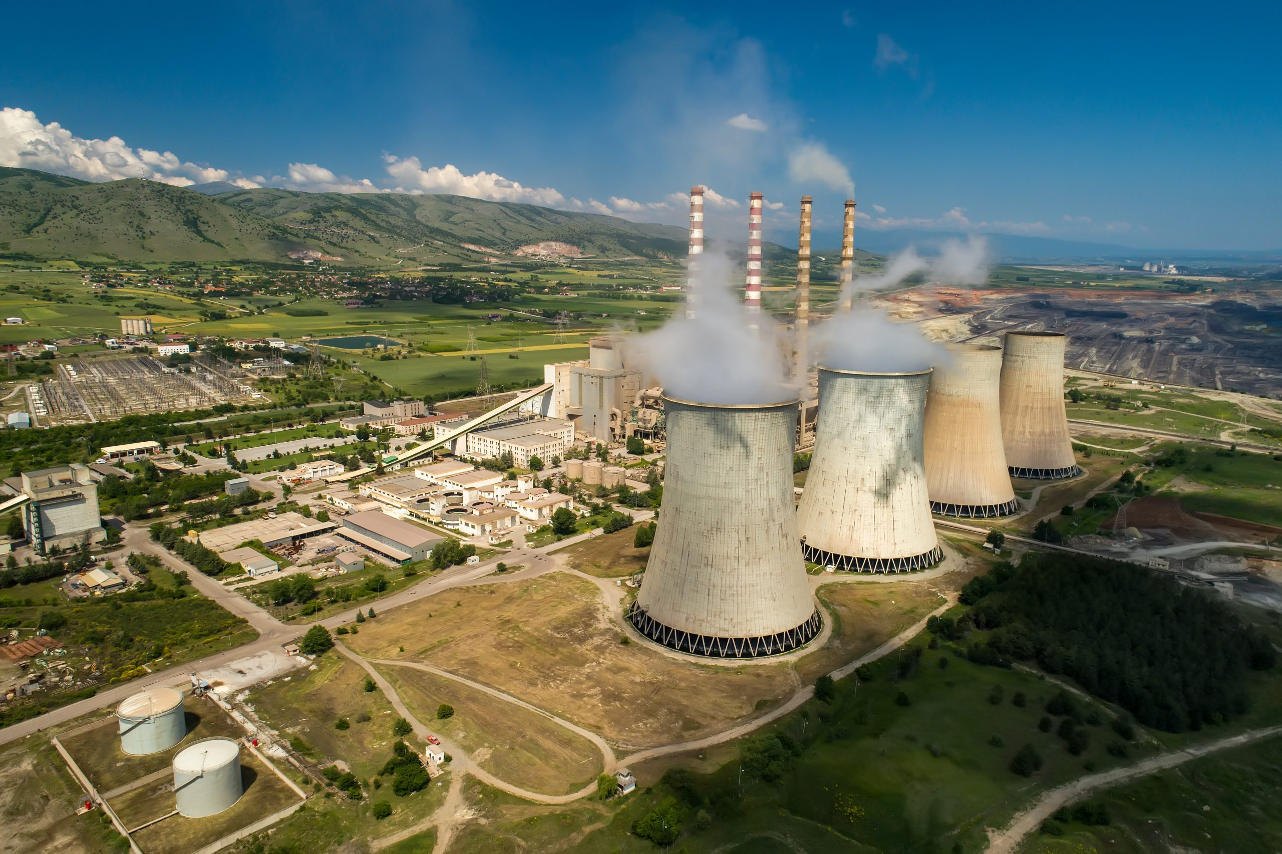 aerial view the plant producing electrical energy