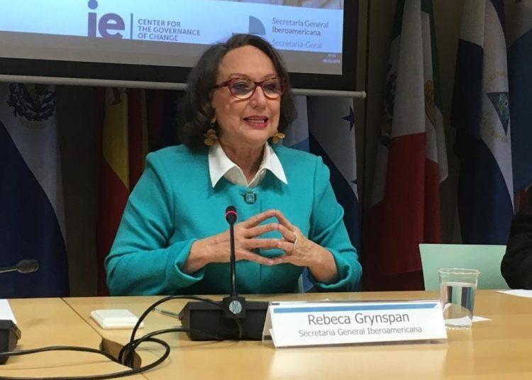 La secretaria general iberoamericana, Rebeca Grynspan. | Europa Press.
