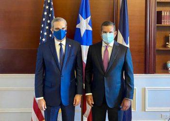 El presidente Luis Abinader, junto al gobernador electo de Puerto Rico, Pedro Pierluisi.   Fuente externa.