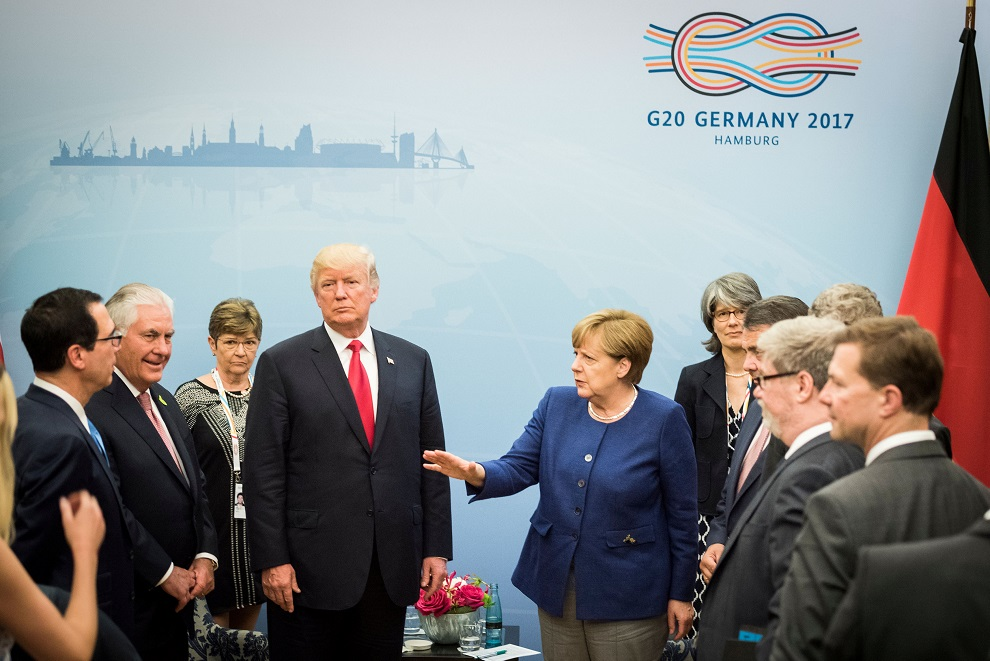 german chancellor angela merkel welcomes u.s. president donald trump before bilateral talks on the eve of the g 20 summit in hamburg