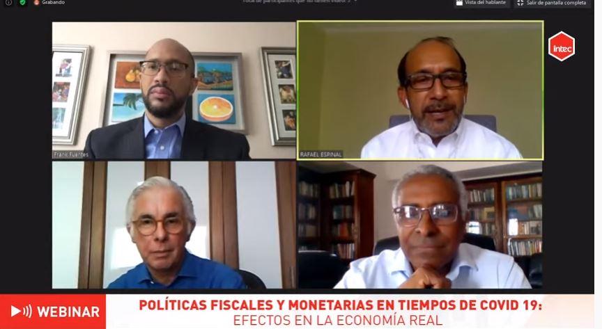 panelistas del webinar políticas fiscales y monetarias en tiempos de covid 19