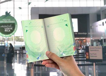 Diseño del pasaporte biométrico que será implementado por Costa Rica, de acuerdo a la cancillería del país centroamericano.   Fuente externa.