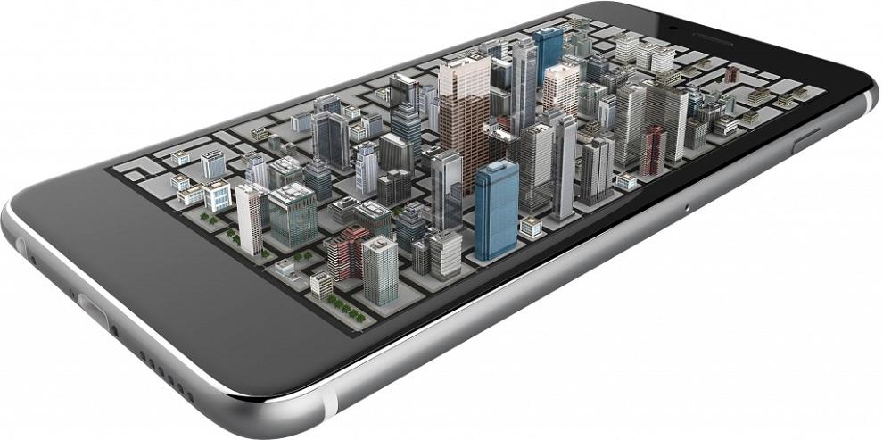 smartphone con imagen holografica