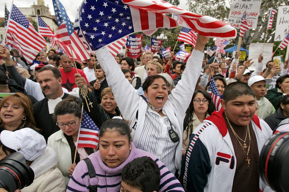 immigration rights demonstrators rally in downtown los angeles, monda